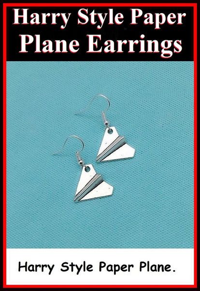 Beautiful Harry Style Paper Plane Silver Earrings.