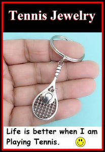 TENNIS ANY ONE; Silver Tennis Racket with Tennis Ball Key Ring.