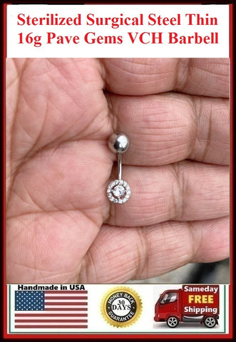 Sterilized Surgical Steel THIN 16g CZ Gem with Pave CZs VCH Piercing Barbell.