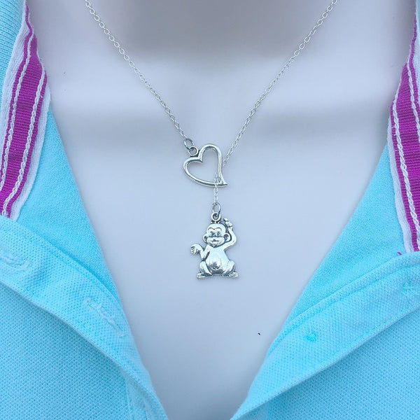 I Love Monkey Silver Lariat Y Necklace.