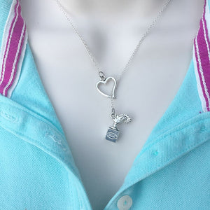 I Love Writing Silver Lariat Y Necklace.