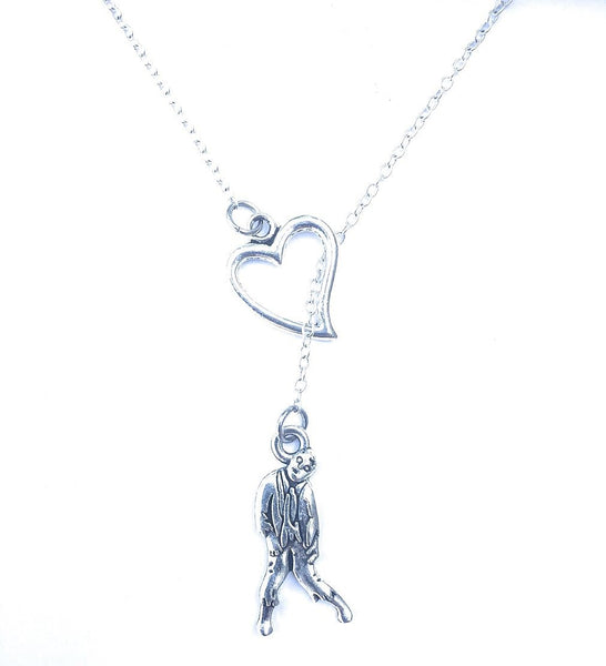 I Love Zombie Silver Lariat Necklace.