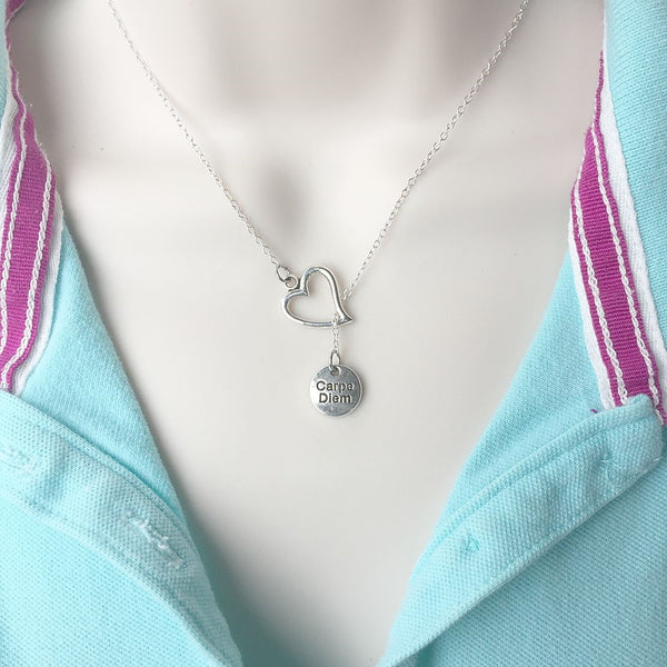 I Love Carpe diem Silver Lariat Necklace.