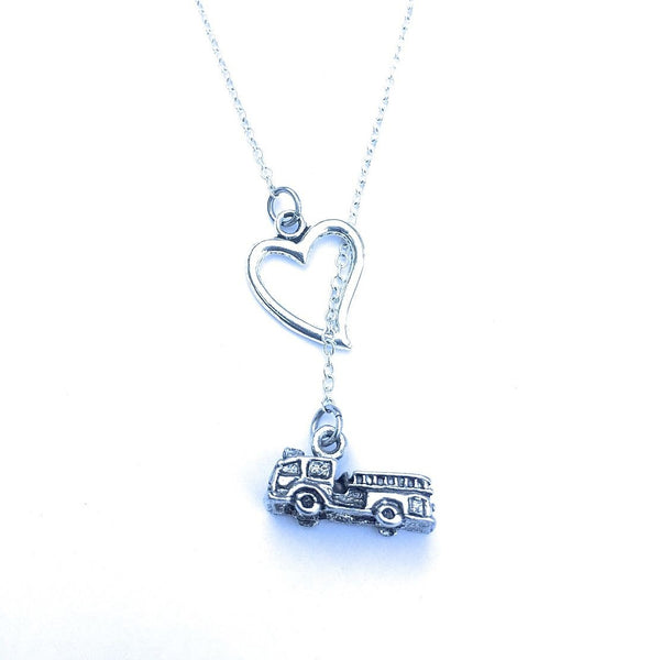 I Love Fire Truck Silver Lariat Y Necklace.