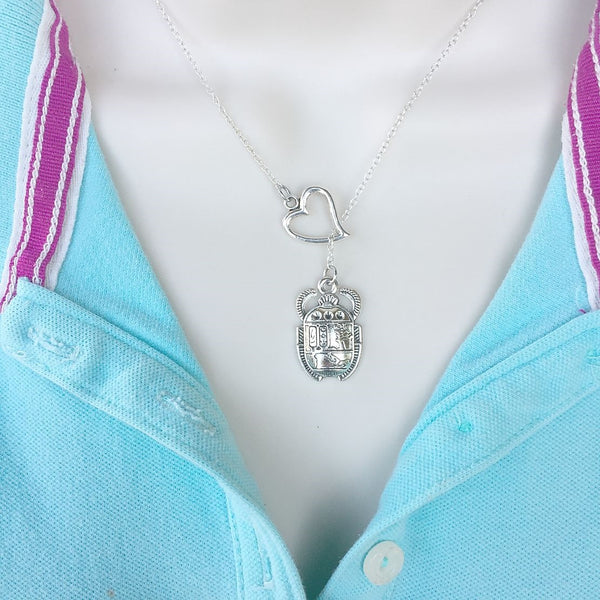 I Love Egyptian Beetle Silver Lariat Y Necklace.