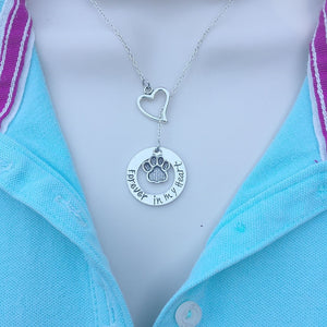 I Love My Pet Silver Lariat Y Necklace.