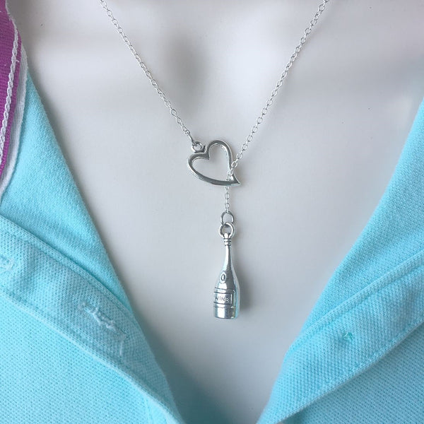 I Love Wine Silver Lariat Necklace.
