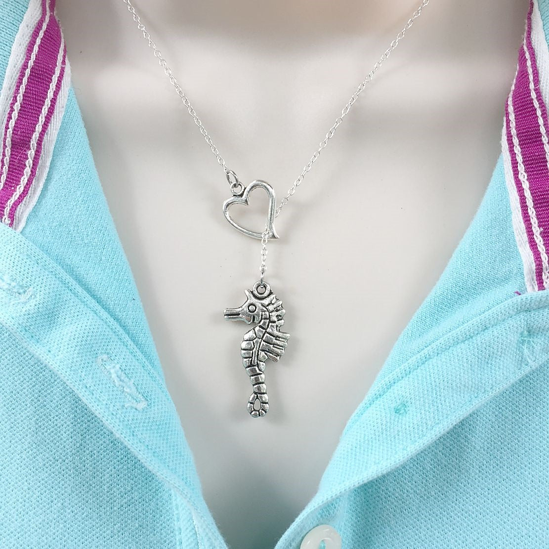 I Love Sea Horse Handcrafted Silver Lariat Y Necklace.
