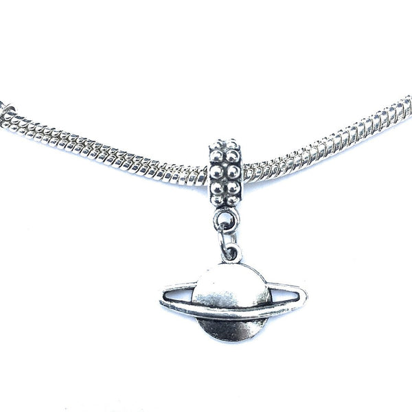Silver Saturn Planet Charm Bead for European and American Bracelet.