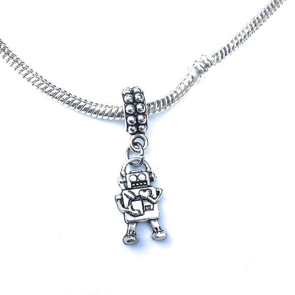 Silver Mini Robot Charm Bead for European and American Bracelet.