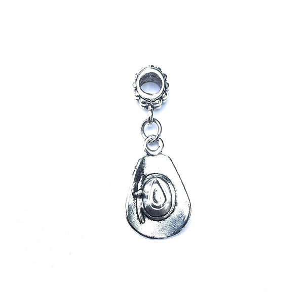 Silver Cowboy Hat Charm Bead for European and American Bracelet.