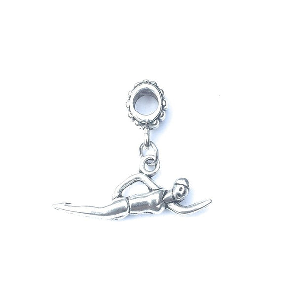 Handcrafted Silver Swimmer Charm Bead for Bracelet.