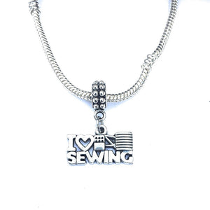 Silver I Love Sewing Charm Bead for European and American Bracelet.