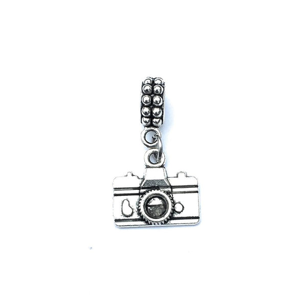 Handcrafted Silver Camera Charm Bead for Bracelet.