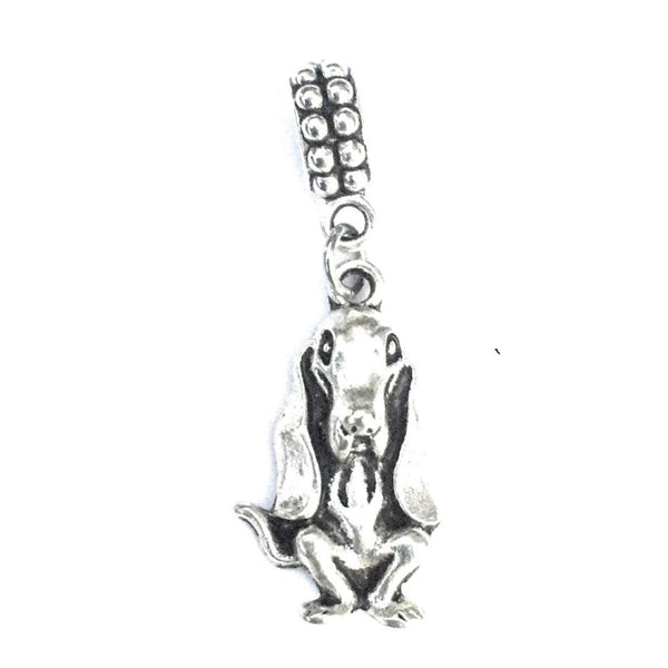 Silver Basset Hound Dog Charm Bead for Bracelet.