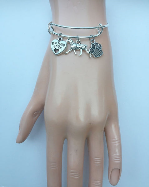 Dalmatian My Best friend Adjustable Charms Silver Bangle Bracelet.