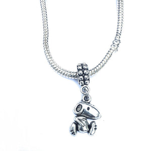 Silver Snoopy Charm Bead for European and American Bracelet.