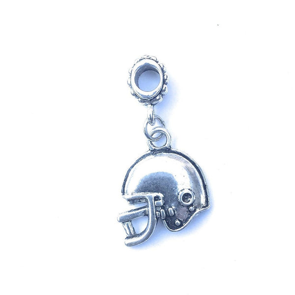 Handcrafted Silver Football Helmet Charm Bead for Bracelet.