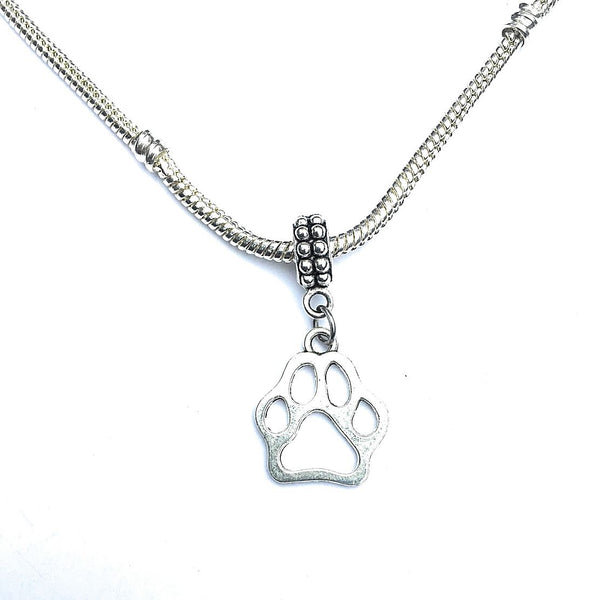 "3/4"" Paw Print Silver Dog Charm Bead for Bracelet."