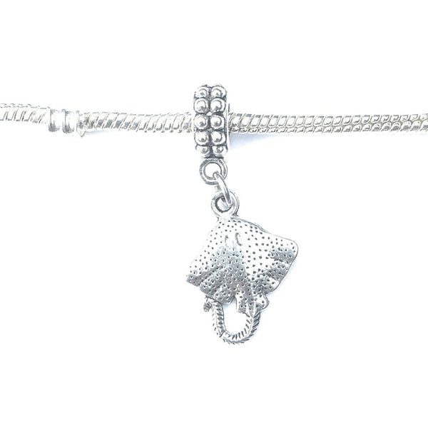 Handcrafted Silver Stingray Charm Bead for Bracelet.