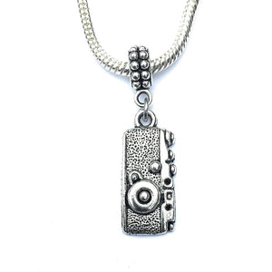 Handcrafted Silver Antique Camera Charm Bead for Bracelet.