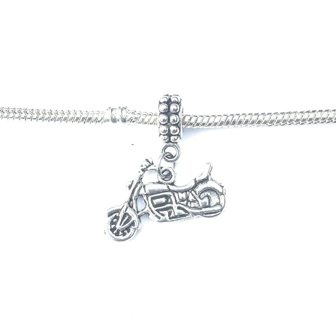 Handcrafted Silver Motorcycle Charm Bead for Bracelet.
