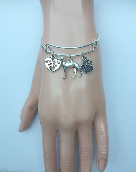 Greyhound My Best friend Adjustable Charms Silver Bangle Bracelet.
