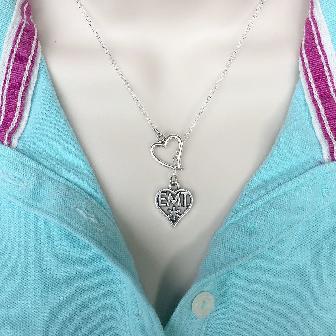 I Love Being EMT Handcrafted Necklace Lariat Y Style.