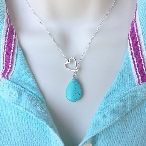 I Love Turquoise Teardrop Silver Lariat Y Necklace.