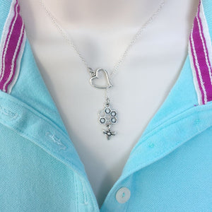 I Love Bee Hive Handcrafted Silver Lariat Y Necklace.
