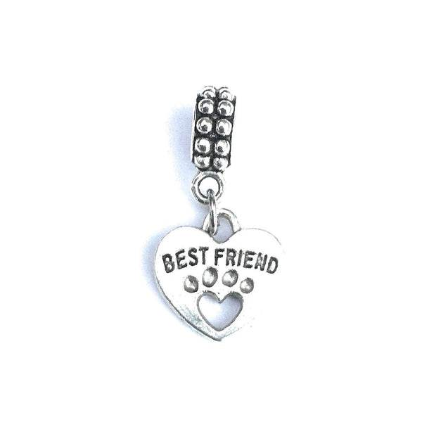 Handcrafted Silver Best Friend Dog Paw Charm Bead for Bracelet.