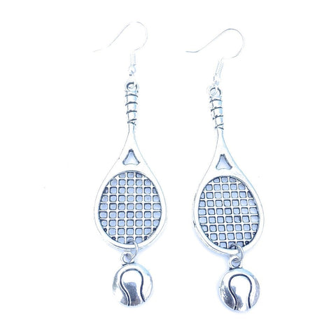 Gorgeous Large Tennis Racket with Tennis Ball Silver Dangle Earrings.