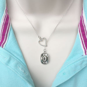I Love Cowboys Handcrafted Silver Lariat Y Necklace.
