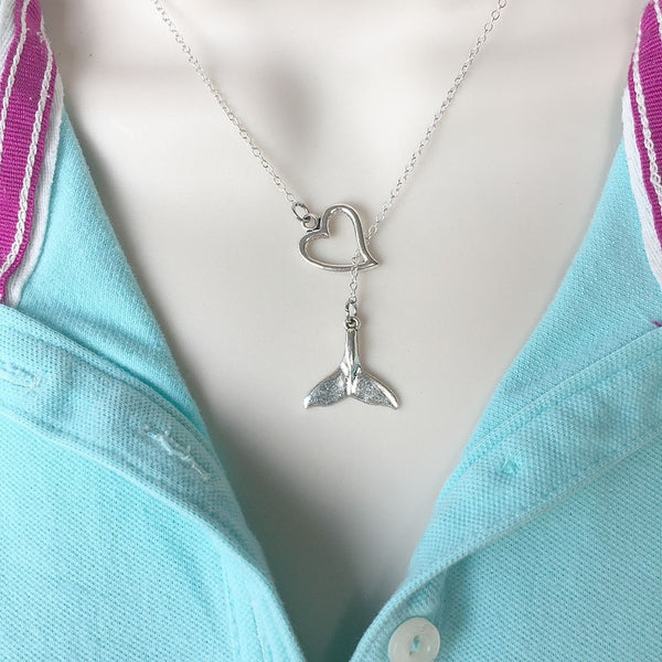 I Love Mermaid/Whale Tail Handcrafted Silver Lariat Y Necklace.