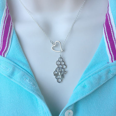I Love Bee in Hive Silver Lariat Y Necklace.