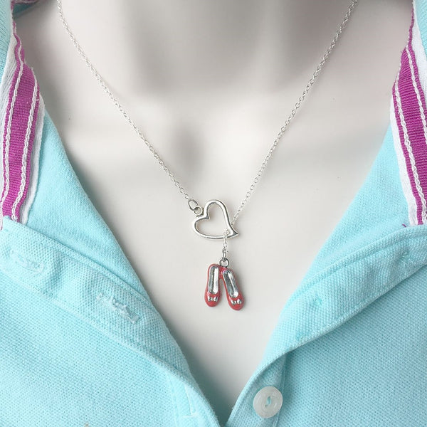 I Love Red Slipper of OZ Silver Lariat Y Necklace.