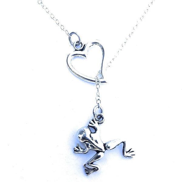 I Love Frog Handcrafted Silver Lariat Y Necklace.