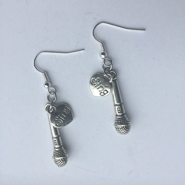 Singer Microphone and Sing Silver Dangle Earrings.