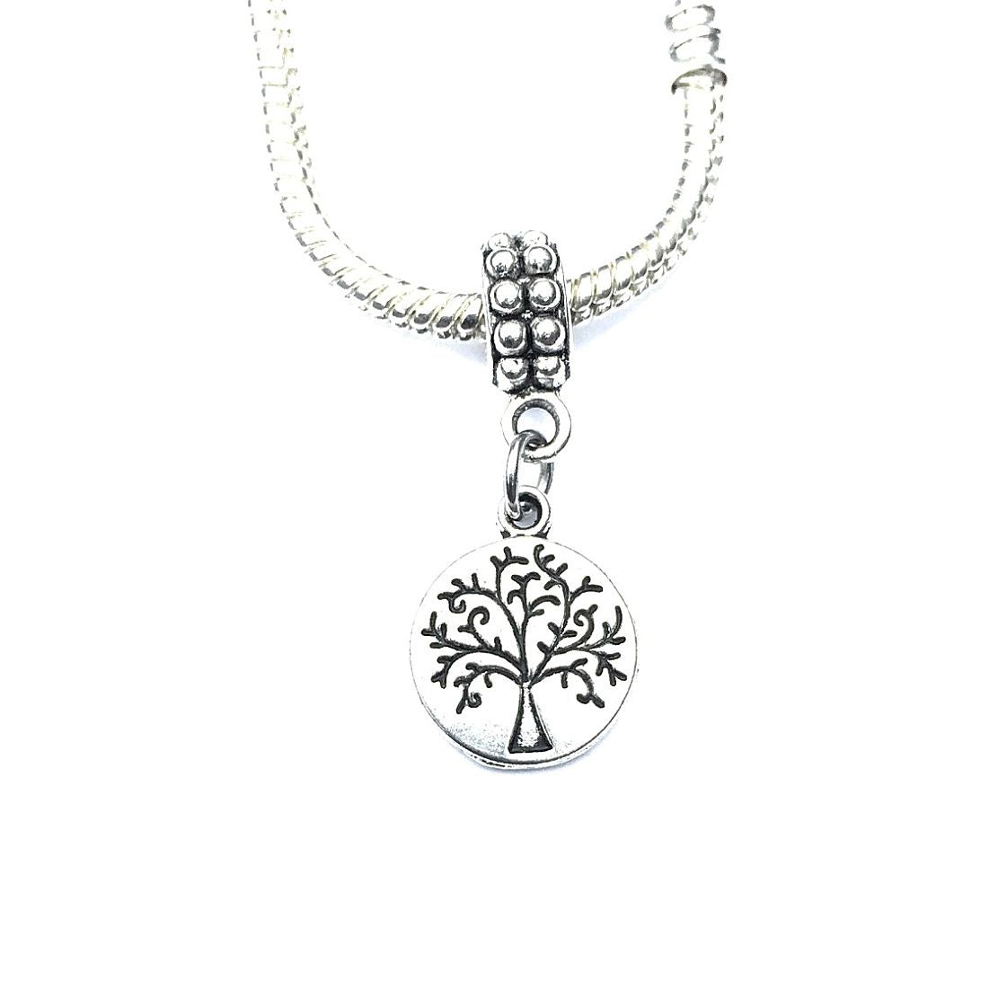 Handcrafted Silver Tree of Life Charm Bead for Bracelet.