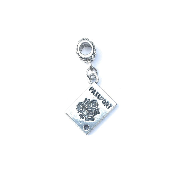 Handcrafted Silver Passport Charm Bead for Bracelet.