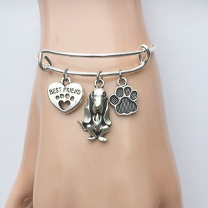 Basset Hound My Best friend Adjustable Charms Silver Bangle Bracelet.