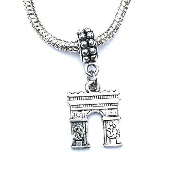 Handcrafted Silver French Arc de Triomphe Charm Bead for Bracelet.