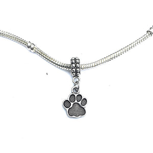 Silver Solid Paw Print Charm Bead for Bracelet.
