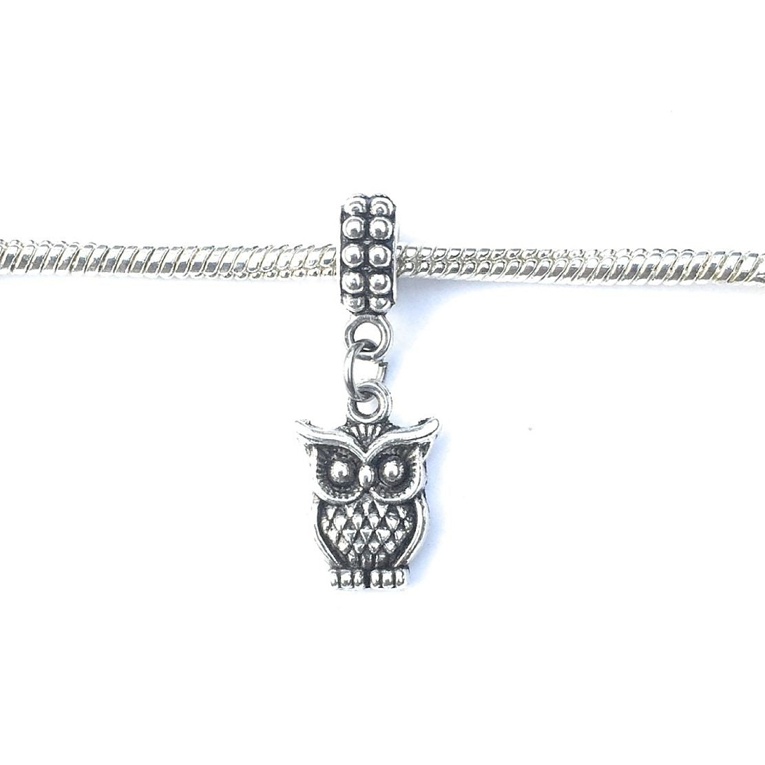 Handcrafted Silver Owl Charm Bead for Bracelet.