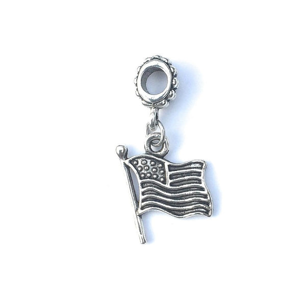 Handcrafted Silver USA Flag Charm Bead for Bracelet.