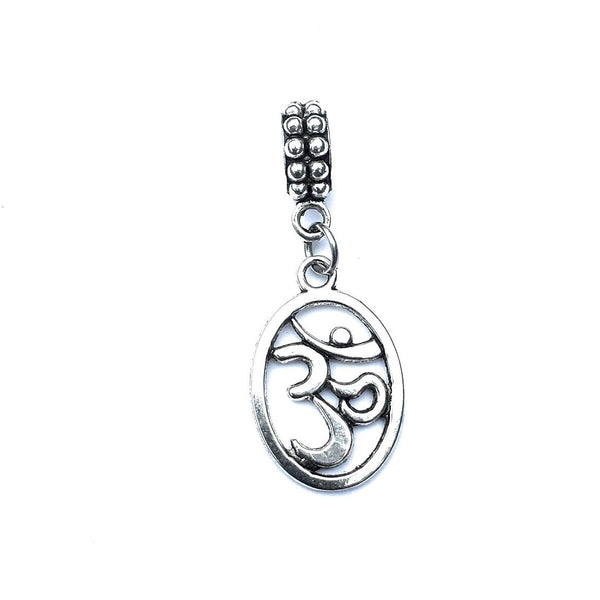 Handcrafted Silver Oval Om Charm Bead for Bracelet.