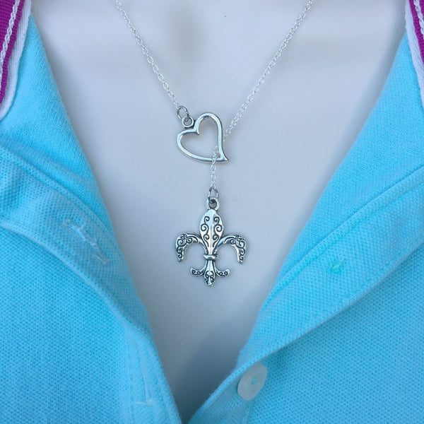 I Love Fleur de Lis Handcrafted Necklace Lariat Y Style.