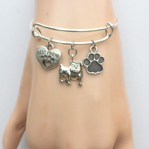 Pit Bull My Best friend Adjustable Charms Silver Bangle Bracelet.