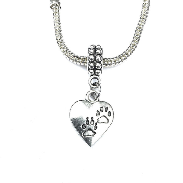 Silver Cat and Dog Paw Prints Charm Bead for Bracelet.