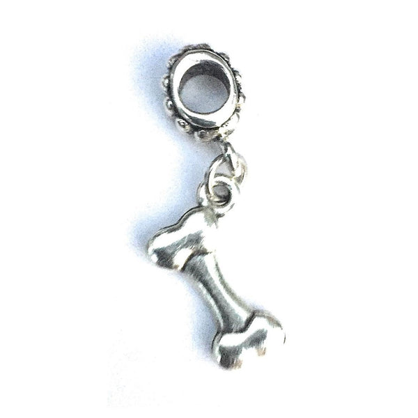 "Silver 1/2"" Dog Bone Charm Bead for Bracelet."